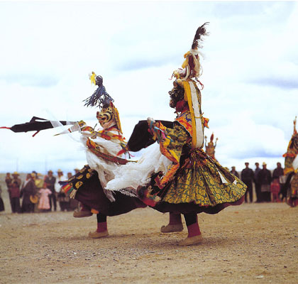 A religious dance in northern Tibet